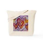 Love Hearts + Poem Words Tote Bag