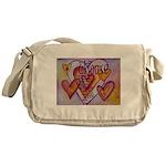 Love Hearts + Poem Words Messenger Bag