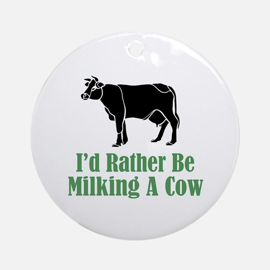 Milking A Cow Ornament (Round)