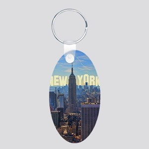 Empire State Building from  Aluminum Oval Keychain