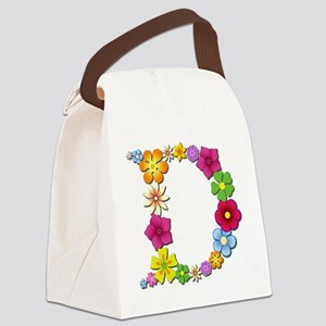 D Bright Flowers Canvas Lunch Bag