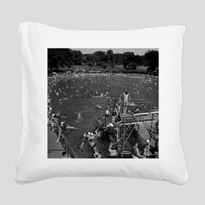 Ottumwa Municipal Swimming Po Square Canvas Pillow