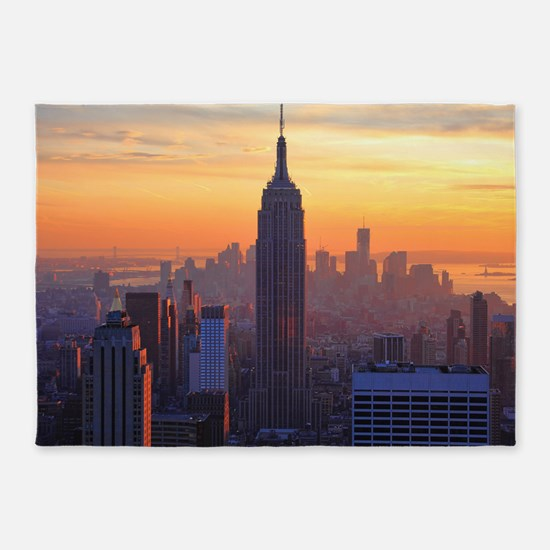 Empire State Building, NYC Skyline, 5'x7'Area Rug