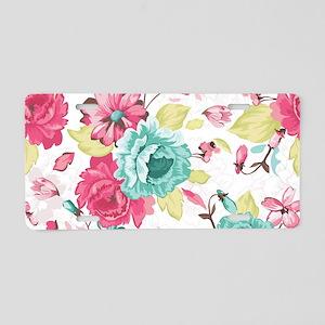 Elegant Flowers Aluminum License Plate