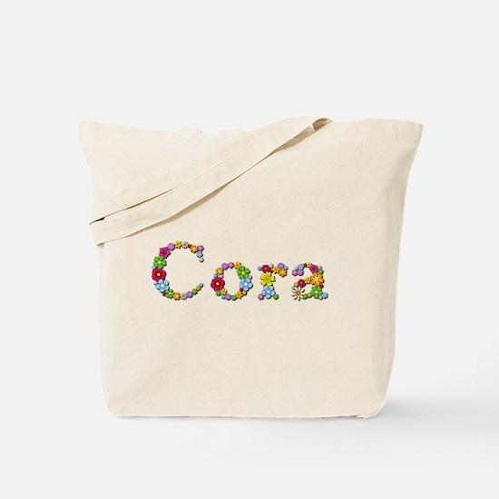 Cora Bright Flowers Tote Bag