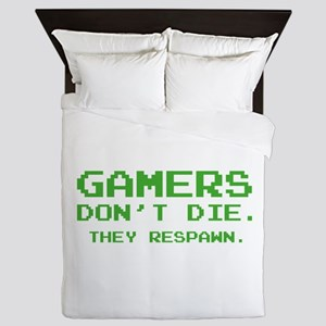 Gamers Don't Die. They Respawn. Queen Duvet