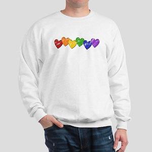 Vintage Gay Pride Hearts Sweatshirt