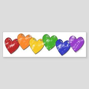 Vintage Gay Pride Hearts Bumper Sticker