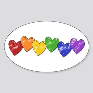 Vintage Gay Pride Hearts Oval Sticker