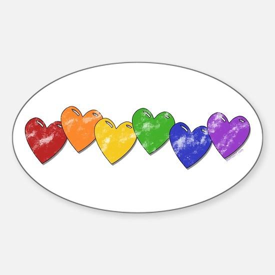 Vintage Gay Pride Hearts Oval Decal