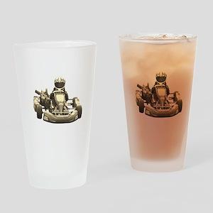 Go Kart Antiqued Drinking Glass