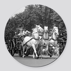 Fire Department Horses Round Car Magnet