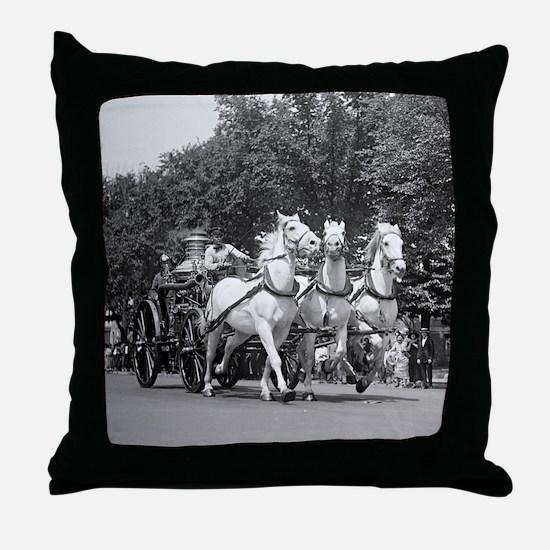 Fire Department Horses Throw Pillow