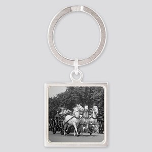 Fire Department Horses Square Keychain