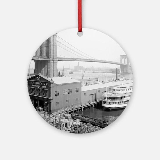 Brooklyn Bridge and Docks Round Ornament