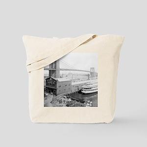 Brooklyn Bridge and Docks Tote Bag