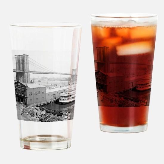 Brooklyn Bridge and Docks Drinking Glass