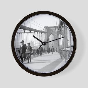 Brooklyn Bridge Pedestrians Wall Clock