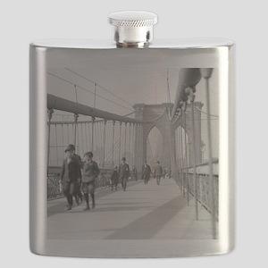 Brooklyn Bridge Pedestrians Flask