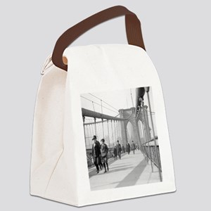 Brooklyn Bridge Pedestrians Canvas Lunch Bag