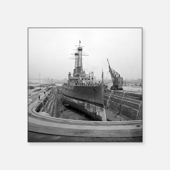 "Brooklyn Navy Yard Dry Dock Square Sticker 3"" x 3"""