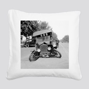 Crashed Ford Model T Square Canvas Pillow