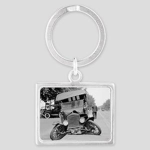 Crashed Ford Model T Landscape Keychain