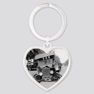 Crashed Ford Model T Heart Keychain