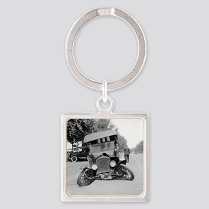 Crashed Ford Model T Square Keychain