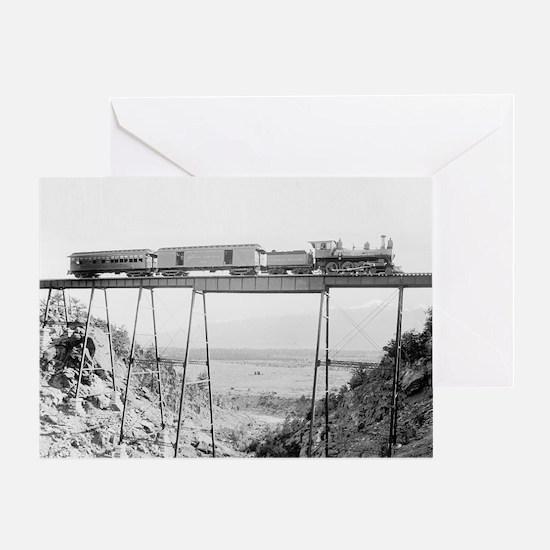 Train Crossing High Bridge Greeting Card