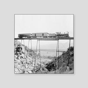 """Train Crossing High Bridge Square Sticker 3"""" x 3"""""""