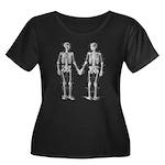 Skeleton Women's Plus Size Scoop Neck Dark T-Shirt