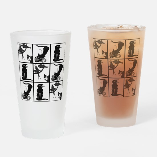 Vintage Black Cats Collage Pattern Drinking Glass