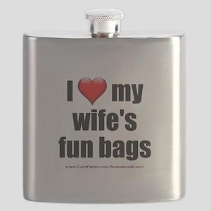 """""""Love My Wife's Fun Bags"""" Flask"""