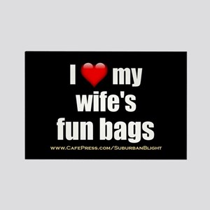 """Love My Wife's Fun Bags"" Rectangle Magnet"