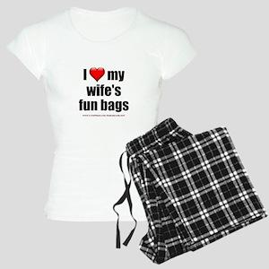 """""""Love My Wife's Fun Bags"""" Women's Light Pajamas"""