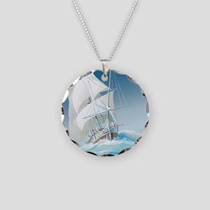 Sailing Ship Necklace Circle Charm