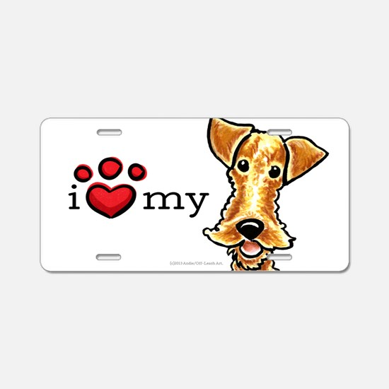 Love My Airedale Welsh Terrier Aluminum License Pl
