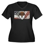 Women's Plus Size V-Neck T-Shirt (black) 2