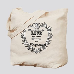Vintage Heart and Key Tote Bag
