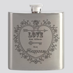 Vintage Heart and Key Flask