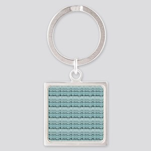 Cool Breeze Blue Abstract Square Keychain