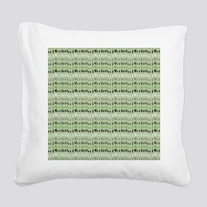 Earthy Green Abstract Square Canvas Pillow