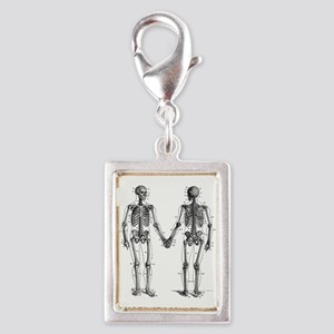 Skeletons Silver Portrait Charm