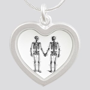 Skeletons Silver Heart Necklace