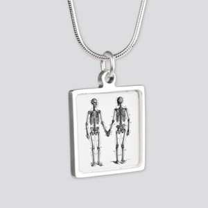 Skeletons Silver Square Necklace