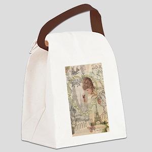 Vintage Paris France Collage Canvas Lunch Bag
