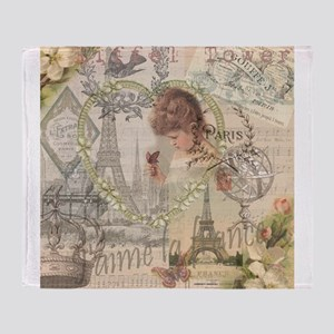 Vintage Paris France Collage Throw Blanket