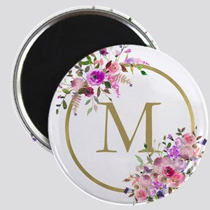 Floral and Gold Monogram Magnets