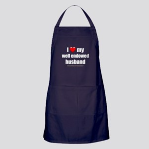 I Love My Well Endowed Husband darkapparel Apron (